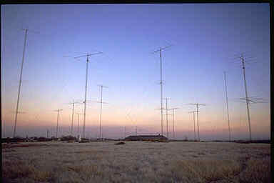 View of most of the N5AU towers at sunrise